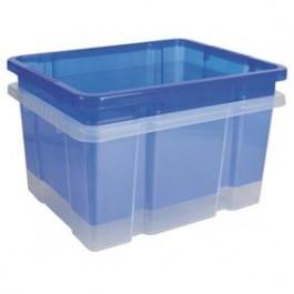 Box stohovací modrý/transparentný 445x350x240mm 27l, bez vrchnáka